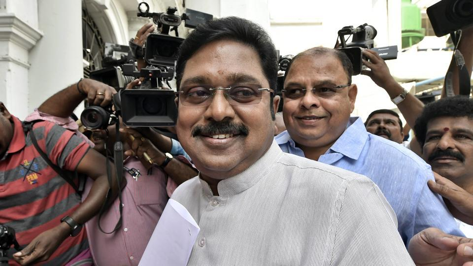 Rebel AIADMK leader TTV Dhinakaran arrives to attend the state assembly session in Chennai on January 8.