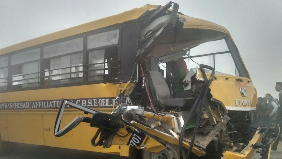 children injured,school bus collides with truck,road accident