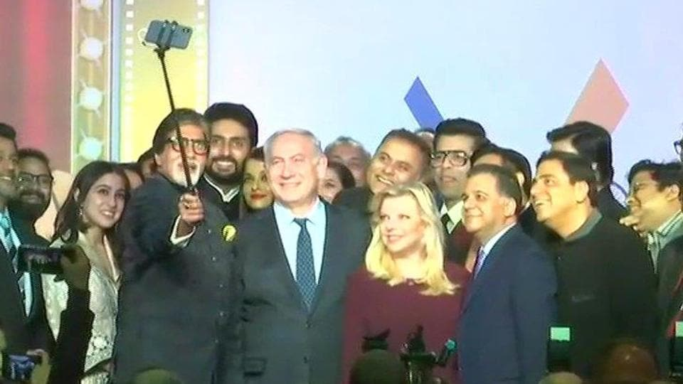 Bollywood actors and directors take a selfie with Israeli Prime Minister Benjamin Netanyahu and his wife Sara in Mumbai on Thursday.