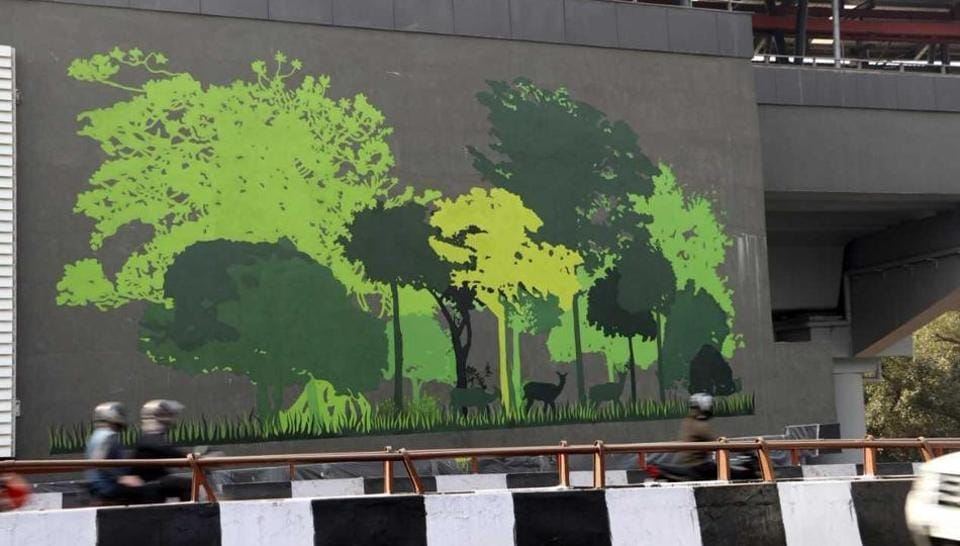The artworks are themed around greenery and preservation of environment.