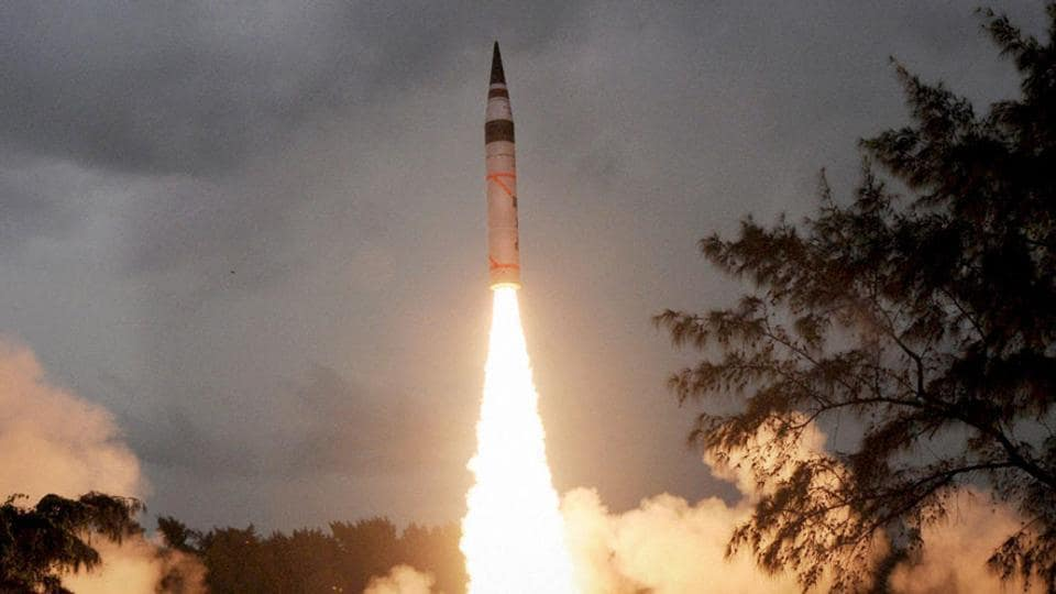 This file photo shows India conducting the second test flight of its indigenously developed nuclear-capable Agni-V long-range ballistic missile from the Wheeler Island.