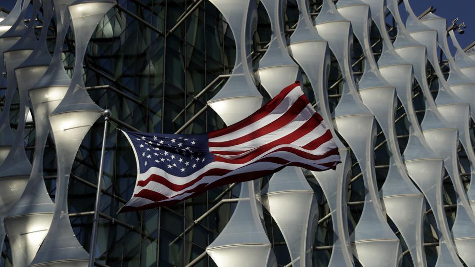 A US flag flies outside the new United States Embassy building in London.