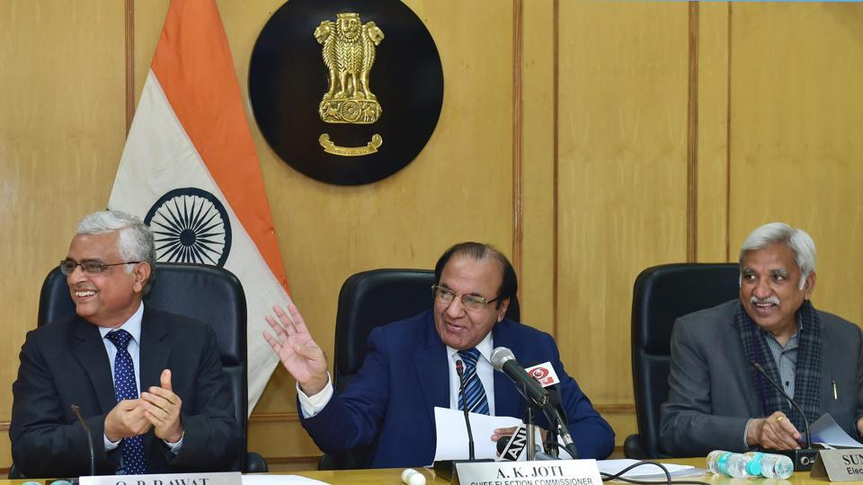 Chief Election Commissioner A K Joti flanked by Election Commissioners Sunil Arora and O P Rawat announces the schedule for Meghalaya, Tripura and Nagaland assembly elections, at a press conference in New Delhi on Thursday.
