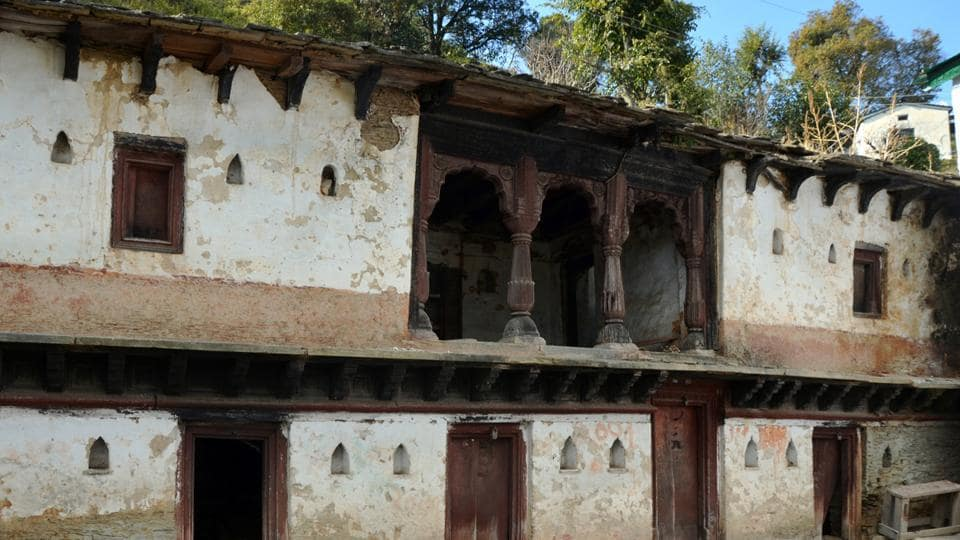 Abandoned houses like the one above in Bughani village in Pauri district are common in hilly areas.