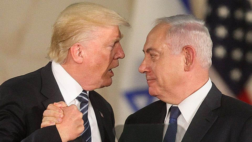 US President Donald Trump and Israel's Prime Minister Benjamin Netanyahu shake hands after a meeting in Jerusalem.