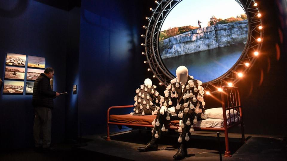 A view of the room featured in Pink Floyd's 'Learning to Fly' music video, along with replica Lightbulb suits featured on the artwork for the 'Delicate Sound of Thunder' album. (Andreas Solaro / AFP)