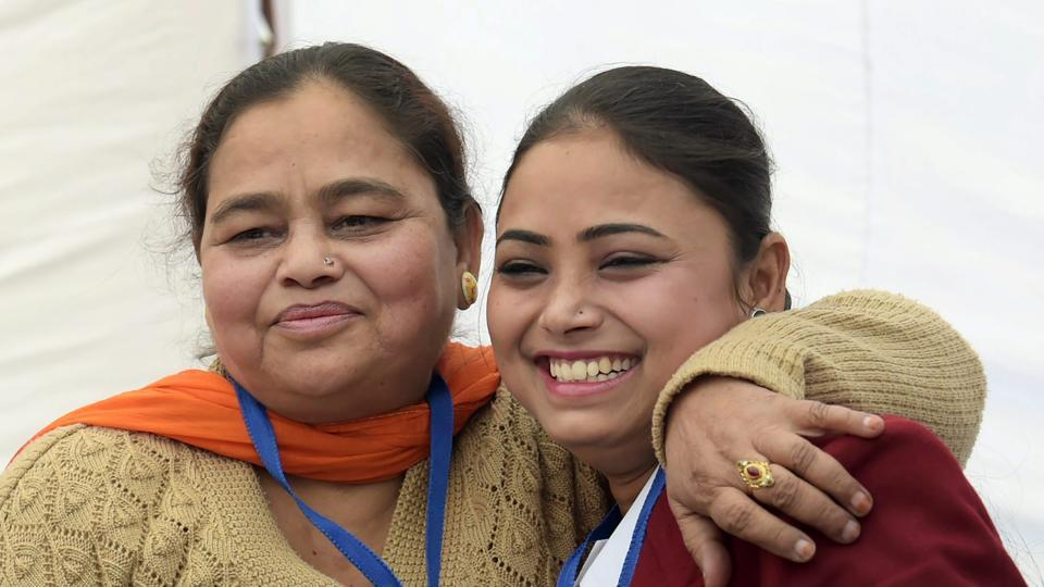 Nazia, who will be honoured with Bharat Award of National Bravery Awards 2017, poses with her mother during a press conference in New Delhi on Thursday.