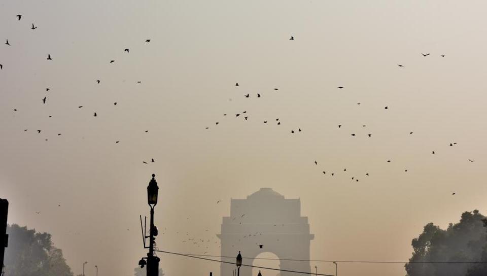 Smog engulfs India Gate on Thursday.