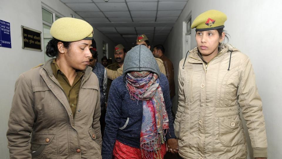 Shristi Gupta in police custody.