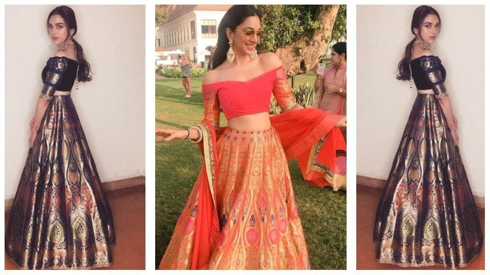 Do you prefer the relaxed vibe in the bright lehenga Kiara wore (centre), or Aditi's sophisticated, polished and more subtle version?