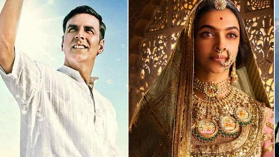 Akshay Kumar and Deepika Padukone in a still from Pad Man and Padmaavat respectively.