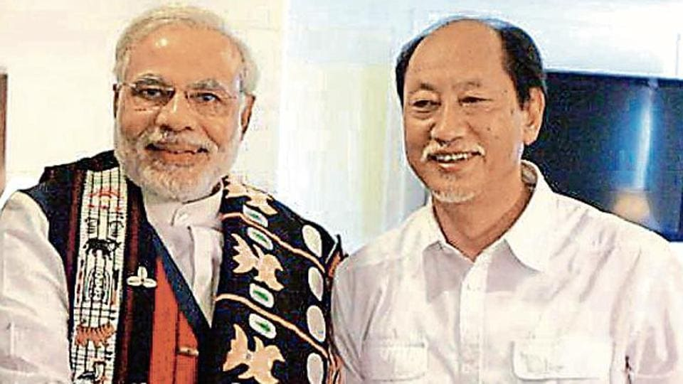 PM Narendra Modi (left) shakes hands with former Nagaland chief minister Neiphiu Rio. With current CM TR Zeliang, the three are the most important players in the assembly polls in the state.