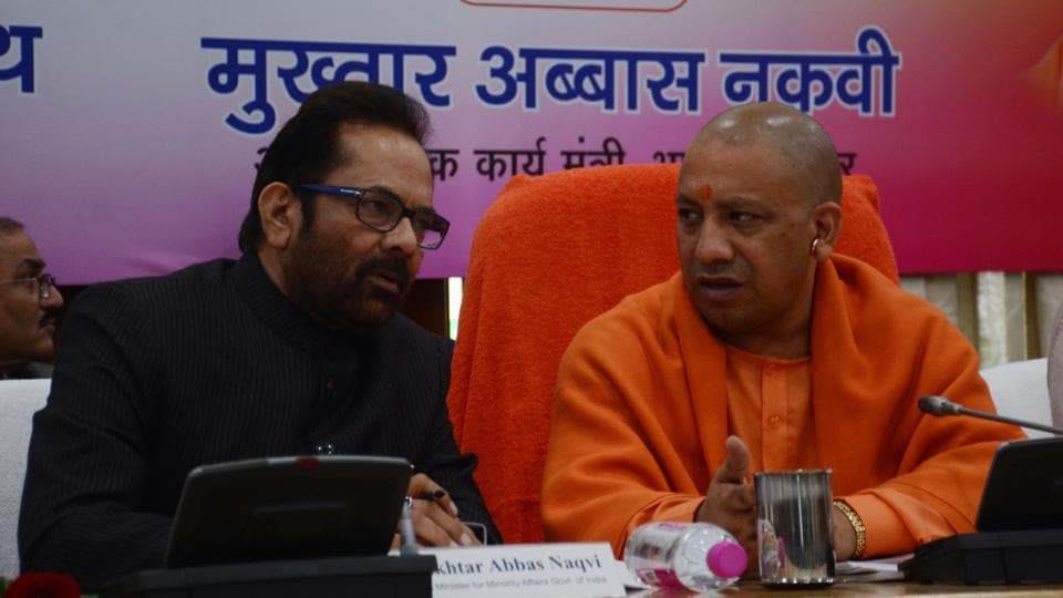 Union minority affairs minister Mukhtar Abbas Naqvi with chief minister Yogi Adityanath in Lucknow.