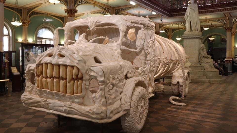 Jitish Kallat's Aquasaurus is the grinning skeleton of a huge mythical beast shaped like a water tanker.