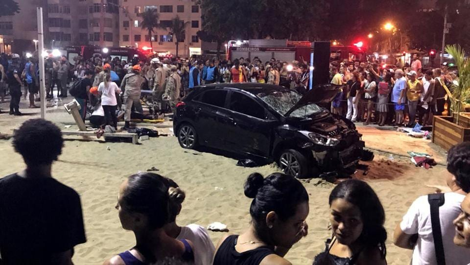 A vehicle that ran over people at Copacabana beach is seen in Rio de Janeiro, Brazil on January 18. According local media, a baby was killed and at least 15 injured during the incident. (Sebastian Rocandio / REUTERS)