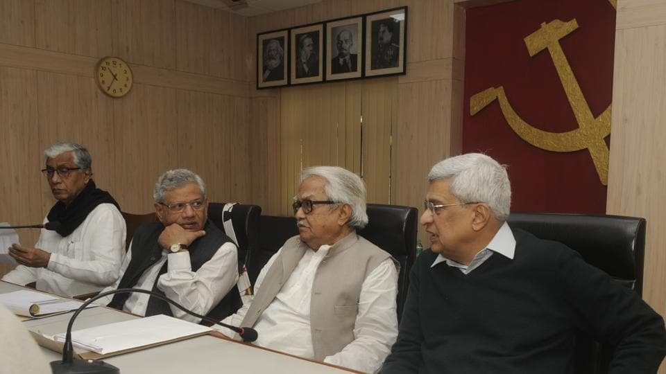 CPI(M) leaders (L to R) Tripura chief minister  Manik Sarkar, Sitaram Yechury, Biman Bose and Prakash Karat at the beginning of the central  committee meeting in Kolkata on Friday.