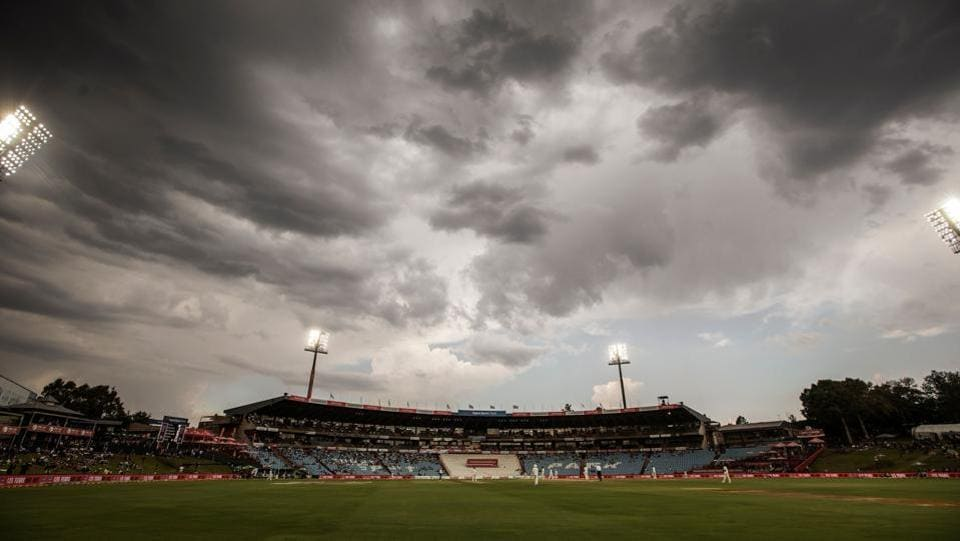 Dark clouds are seen above the cricket field during the third day of the second test cricket match between South Africa and India at Supersport cricket ground in Centurion, South Africa on January 15, 2018. (Gianluigi Guercia / AFP)