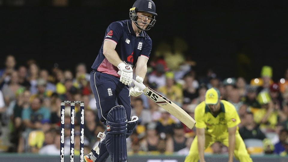 England's Eoin Morgan plays a shot during the second ODI against Australia in Brisbane on Friday.