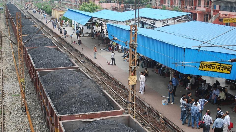 Coal loaded goods train at Dhanbad railway station in Dhanbad.