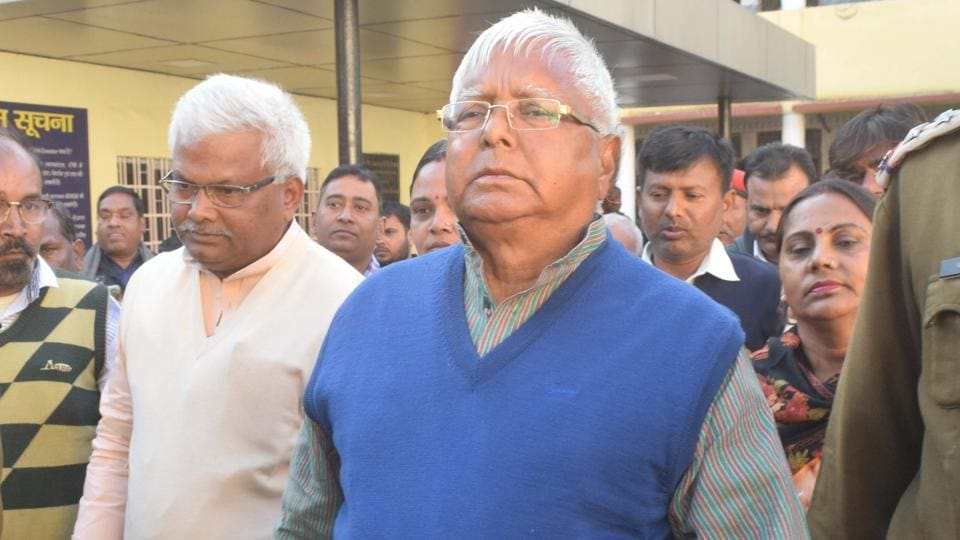 Convicted former Bihar chief minister Lalu Prasad appears before the special CBI court in fodder scam in Ranchi on Thursday.