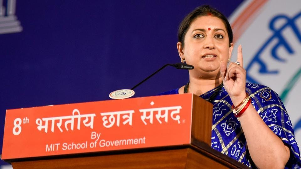 Union minister of information and broadcasting Smriti Irani at the 8th Bharatiya Chatra Sansad held at MIT- WPU Kothrud campus in Pune on Friday.