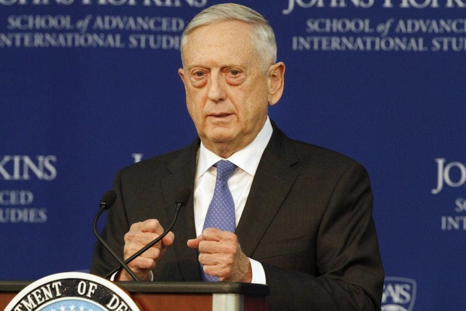 Defence secretary Jim Mattis speaks about the National Defence Review in Washington on January 19.