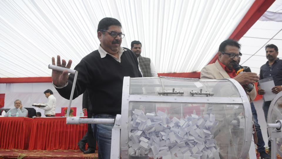 Authorities organised an open draw of lots for industrial plots at the Indira Gandhi Kala Kendra inSector 6, Noida,  on Friday.