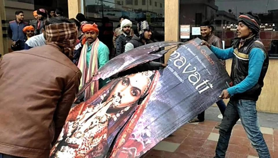 Karani Sena members protest against Sanjay Leela Bhansali film 'Padmaavat' near Jyoti Cinema Hall in Muzaffarpur on Thursday.