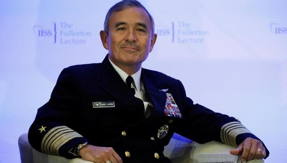 US Navy Admiral Harry Harris Jr, head of the Pacific Command, during a lecture in Singapore in October, 2017.