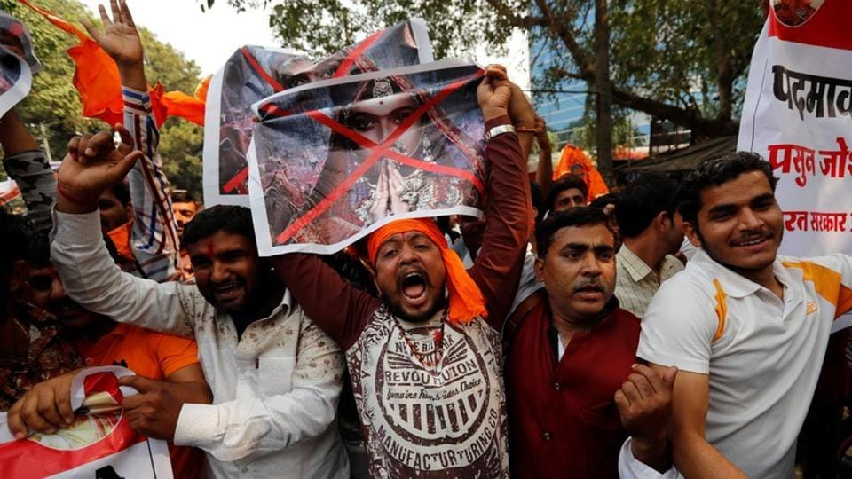 Members of the Rajput community protest against the release of the upcoming Bollywood movie'Padmavat in Mumbai recently