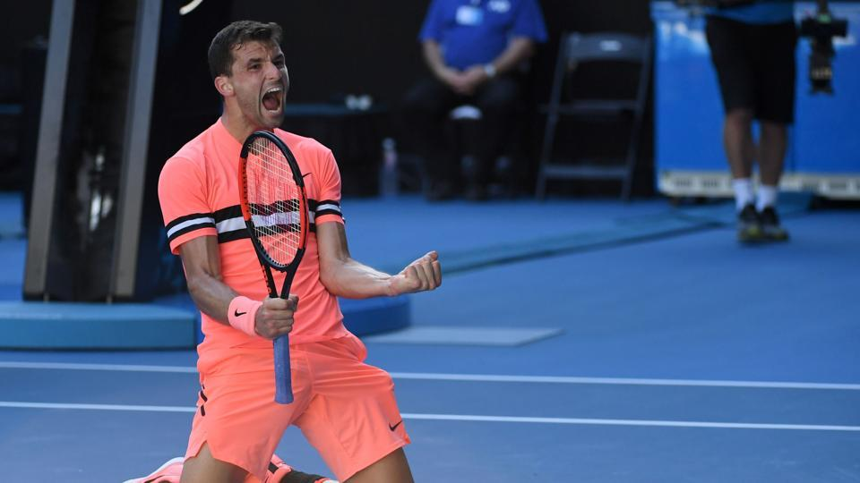 Grigor Dimitrov (BUL x3) got past Andrey Rublev (RUS x30) 6-3, 4-6, 6-4, 6-4 in a third round match. (AFP)