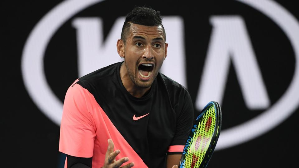 Nick Kyrgios reacts during his men's singles third round match against France's Jo-Wilfried Tsonga on day five of the Australian Open tennis tournament in Melbourne.