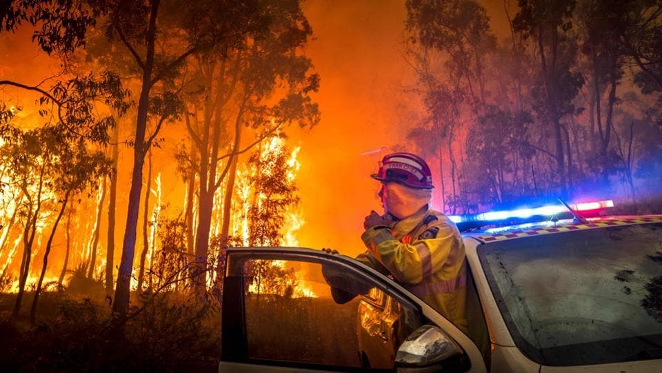 A firefighter monitors a bushfire in the eastern suburbs of Perth, Australia on January 14. (AFP)