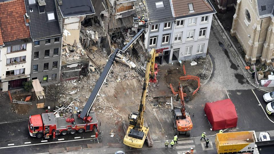 An aerial view shows the Paardenmarkt area in Antwerp on January 16 after several buildings collapsed following a blast likely to have been a gas explosion. (Eric Lalmand / AFP)