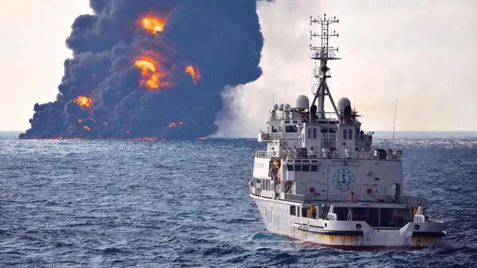 A handout from the Transport Ministry of China shows smoke and flames rising from the burning oil tanker 'Sanchi' off the coast of eastern China. An Iranian official said on January 14, 2018 that there was no chance of any crew members having survived. (AFP)