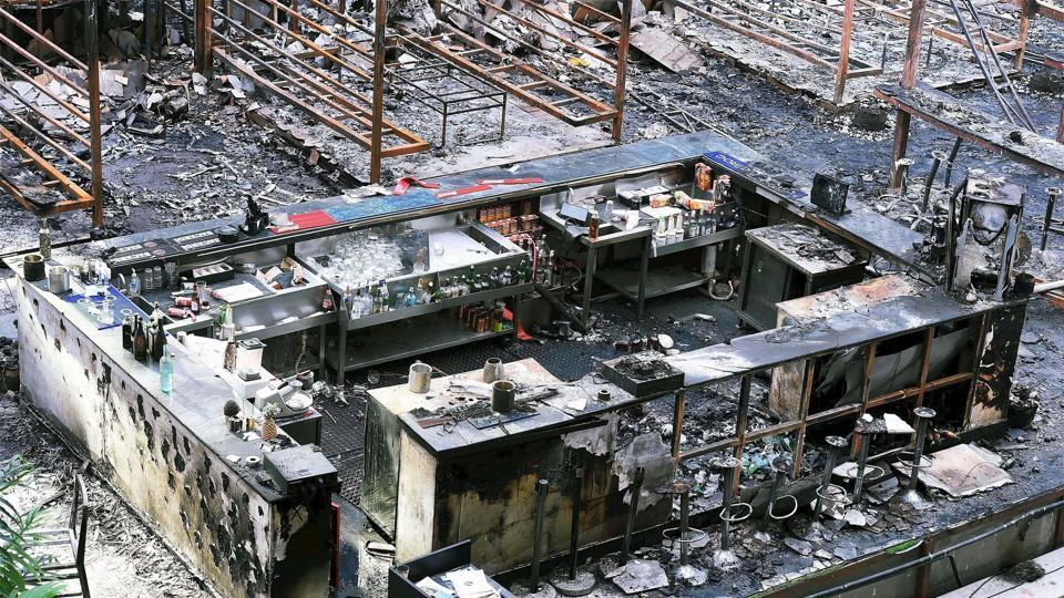 A view of the burnt down restaurant at Kamala Mills in Mumbai