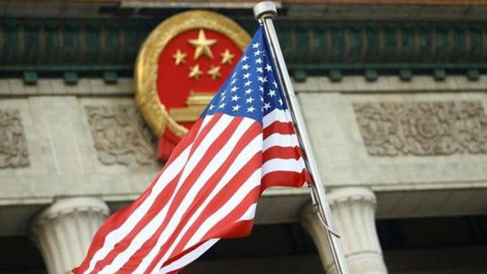 A US flag is seen during a welcoming ceremony in Beijing on  November 9, 2017.