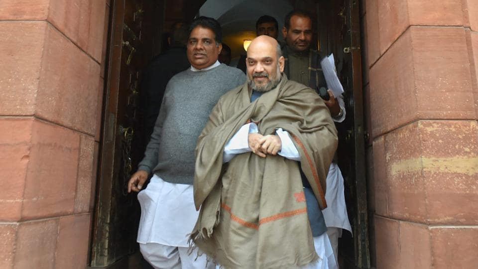 BJP president Amit Shah during the winter session of Parliament in New Delhi.