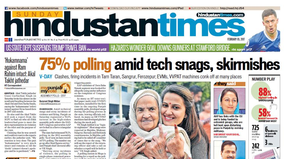 Hindustan Times is most read English newspaper in Punjab