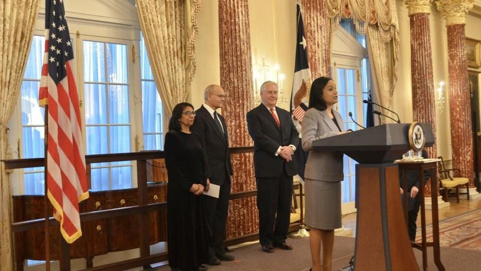 Singh was sworn in by Secretary of State Rex Tillerson on Friday. She will be responsible for advancing American prosperity, entrepreneurship and innovation worldwide.