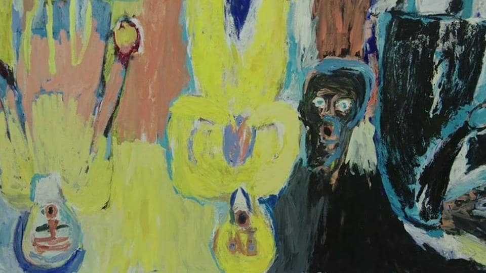 A painting by Baselitz. His portraits often show his subjects upside down.