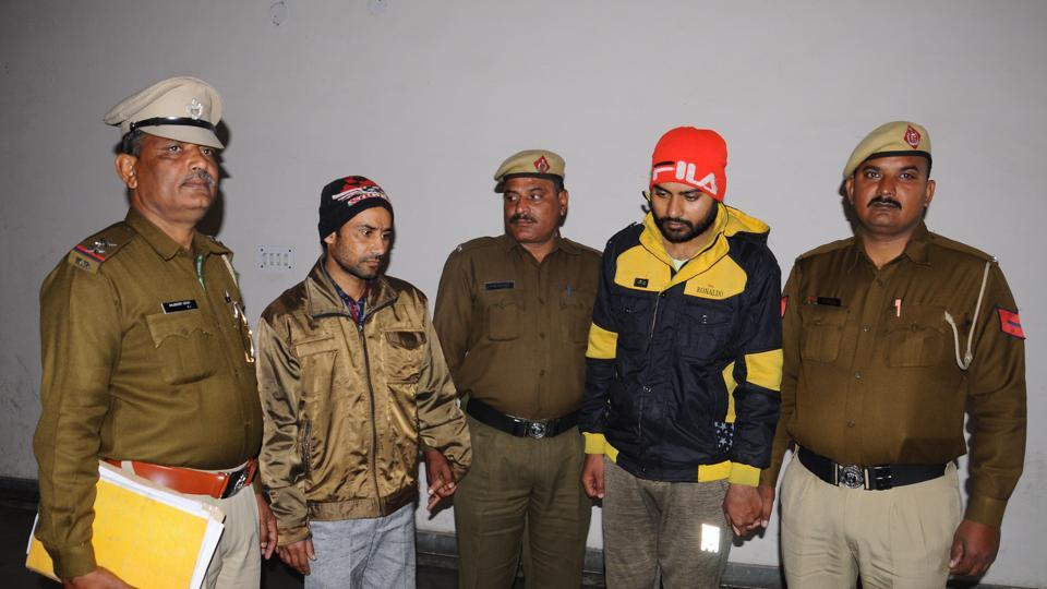 Mohint Kumar (in red cap) who allegedly murdered Haryanvi folk singer Mamta Sharma was arrested on Saturday. His friend Sandeep  (second from left)  who helped him dispose the body was also arrested.