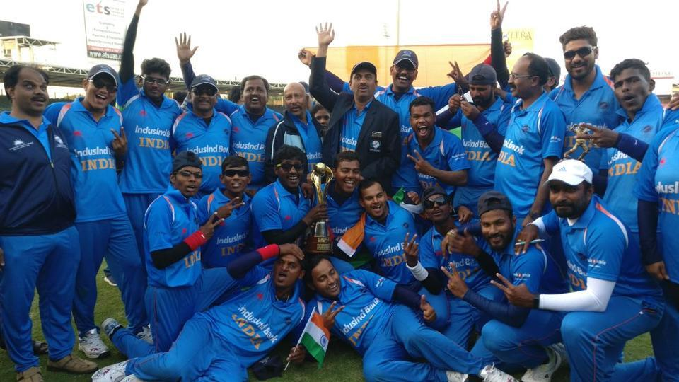 The victorious Indian cricket team after defeating Pakistan in the Blind Cricket World Cup final in Sharjah on Saturday. (Twitter)