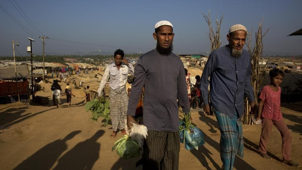 Rohingya refugees at the Kutupalong refugee camp near Cox's Bazar in Bangladesh. More than 650,000 Rohingya Muslims poured into Bangladesh after Myanmar's military launched a crackdown against them.
