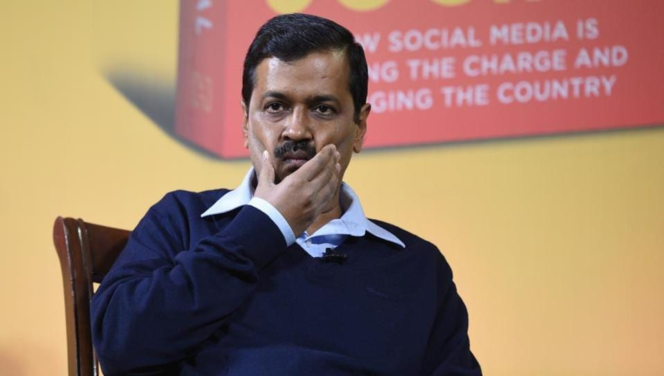 Delhi chief minister Arvind Kejriwal at the launch of a book.