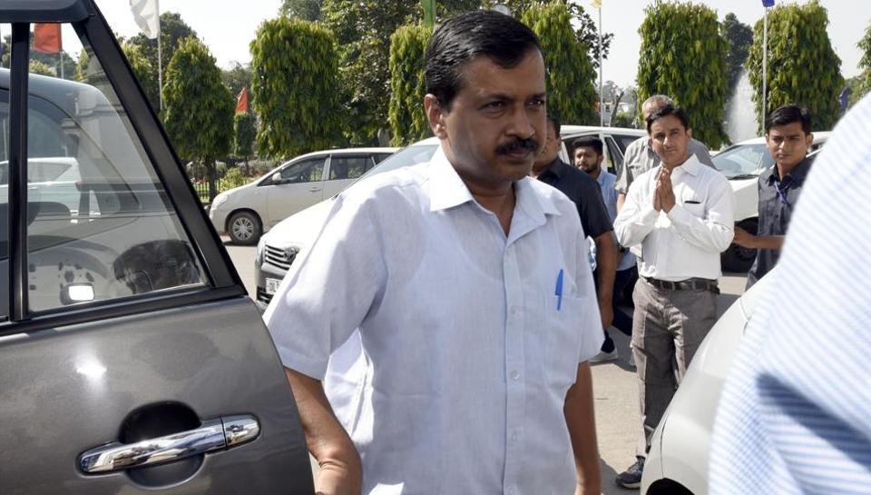Chief minister Arvind Kejriwal arrives for a special session of the Delhi assembly.