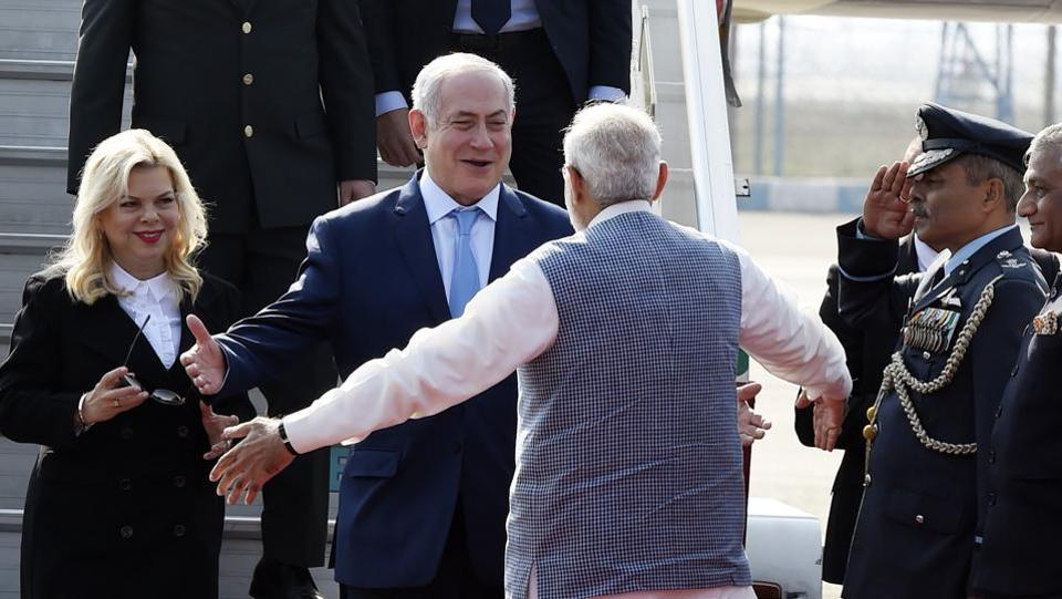PM Narendra Modi welcomes the Prime Minister of Israel, Benjamin Netanyahu, on his arrival at Air Force Station Palam, in New Delhi on January 14, 2018. (Arvind Yadav / HT Photo)