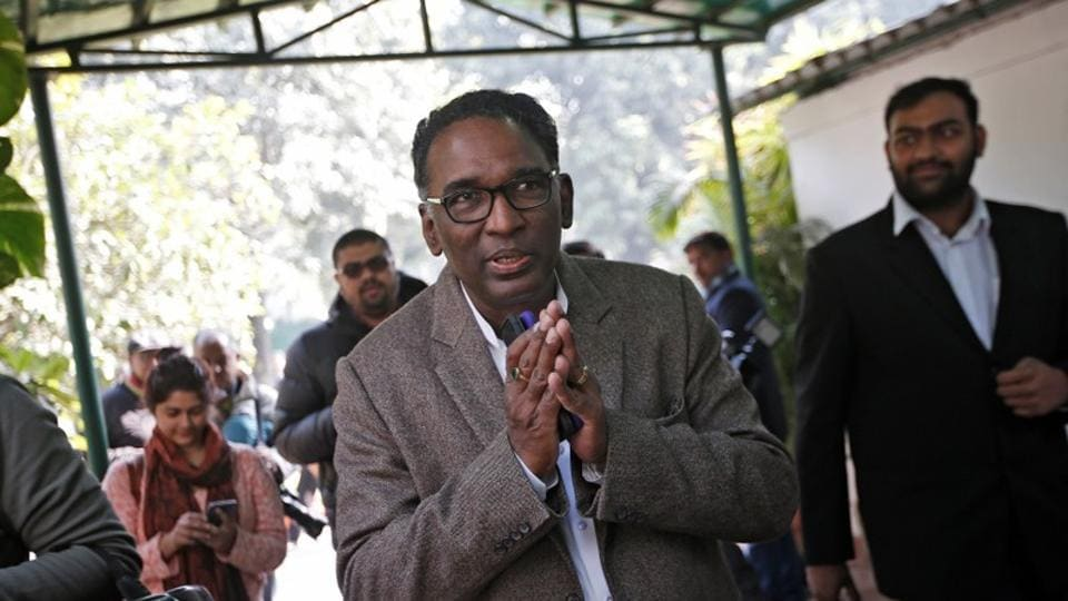Justice J Chelameswar gestures as he leaves after the news conference in New Delhi.