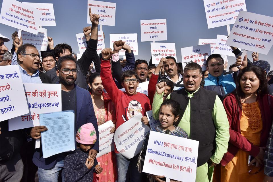 Homebuyers assembled in Sector 84 on Saturday and marched towards the Kherki Daula toll plaza.