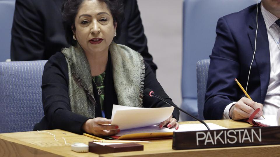 Pakistan's UN Ambassador Maleeha Lodhi speaks in the United Nations Security Council on January 19.